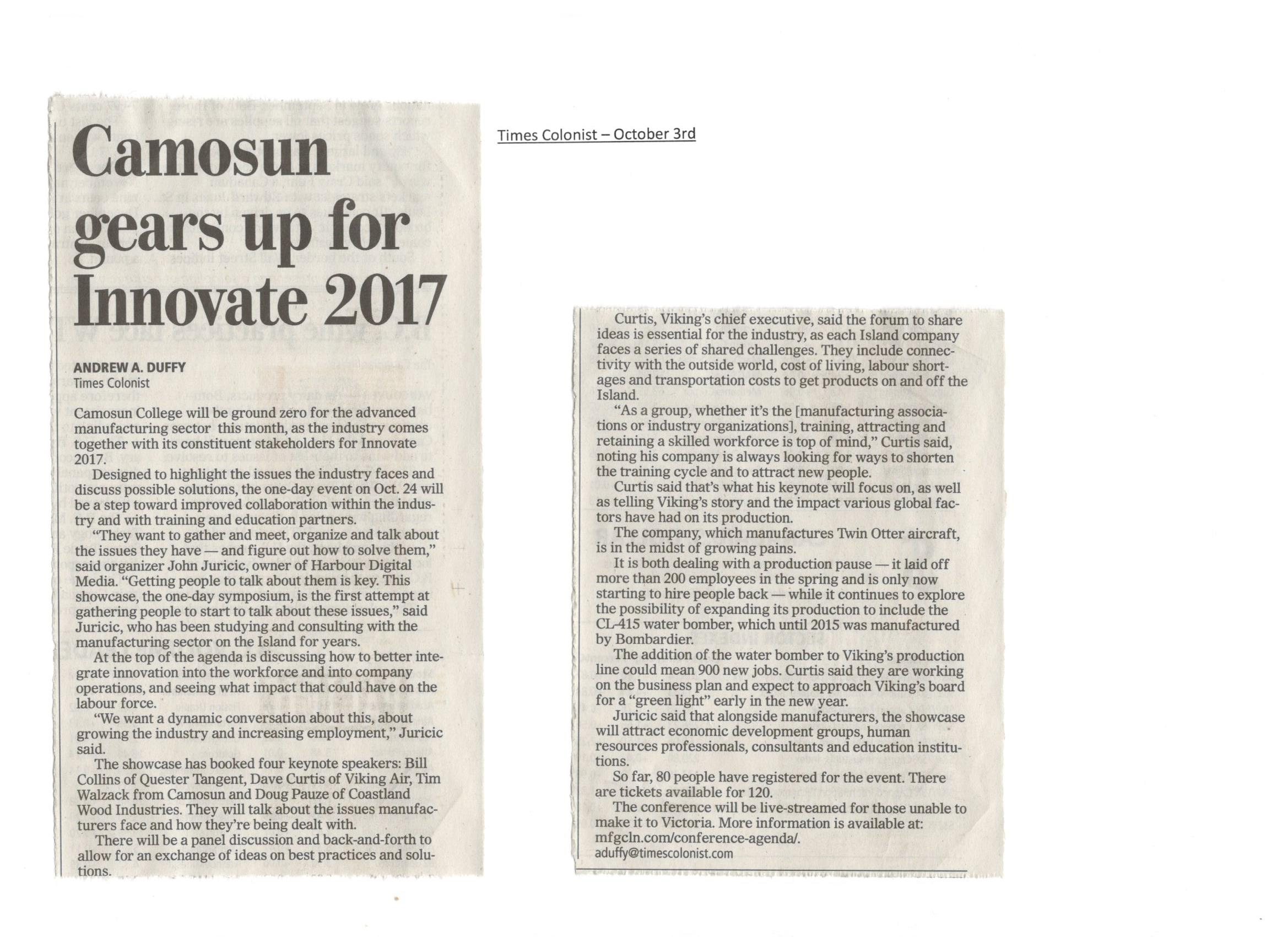 "Oct. 2017 - Camosun gears up for ""Innovate 2017"""