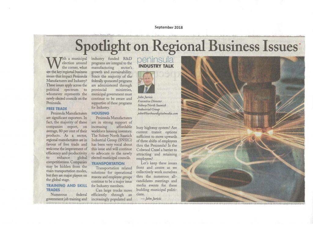 Sept. 2018 - Spotlight on Regional Business Issues