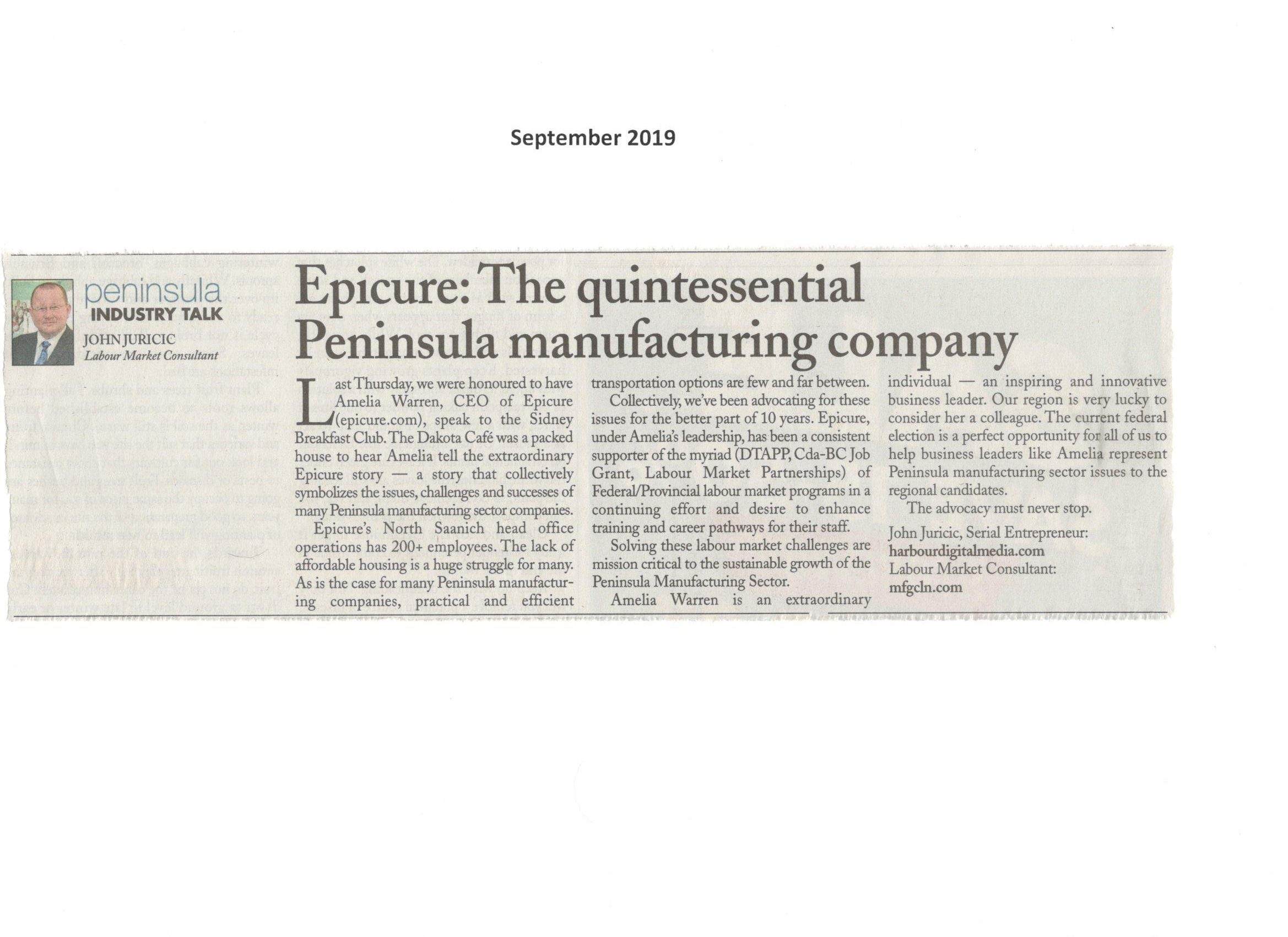 Epicure - The quintessential Peninsula manufacturing company